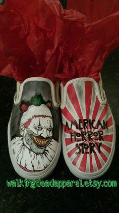 Handpainted American Horror Story Freakshow Vans by WalkingDeadApparel Ahs, twisty, shoes, vans, clown, gift, coven, asylum, murder house, gift, freak show, etsy, unique, dandy, evan peters, Jessica lange,