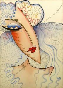 Zandra Rhodes watercolour and pen