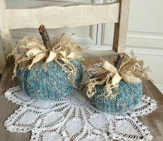 Sweater Pumpkins Set of 2 Teal Tweed Fabric Pumpkins shabby rustic cottage farmhouse style Autumn Crafts, Thanksgiving Crafts, Holiday Crafts, Sweater Pumpkins, Fall Pumpkins, Fall Halloween, Halloween Crafts, Old Sweater Crafts, Fabric Crafts