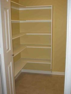 Great Walk-in Pantry Enables You to Supply Foods As Many As Possible: Awesome White Brown Minimalist Walk In Pantry Shelving Design Ideas Interior Design Blog, Pantry Shelving, Kitchen Furniture Design, Shelving Design, Kitchen Design Small, Small Kitchen Furniture, Ikea Pantry, Shelving, Walk In Pantry