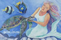 "Motherly Love Mermaid - Fine Art Wall Art Artwork Watercolor Art Print. ""Motherly Love"" is a fine art giclee reproduction of an original watercolor by Brenda Ann, featuring a simple undersea scene of universal love - a mermaid represents Mother Nature resting on the rocks, caring for a sea turtle with some happy angel fish swimming nearby. This print is made with archival inks on heavy, acid free, matte, slightly textured velvet fine art paper. It will last for generations. The watermark..."