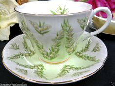 ROYAL ALBERT GREEN DAMASK  PATTERN  TEA CUP AND SAUCER DUO FLOWERED <br/>Cups & Saucers - 63525
