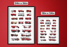 From large to small fire engines play a vital role in our society and this one of a kind poster showcases the various shapes and sizes of the world's Fire Engines in stunning detail. Featuring fire engines from Europe, New Zealand, China, North America and Russia. This poster is perfect for anyone interested in or showing an interest in firefighting.  Details:  Two sizes, 18x24in & 24x36in Printed on high quality archival, acid-free paper. Shipping: Worldwide shipping From Los Angles $6 USA…