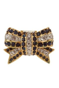 Juicy Couture Blue & Clear Pave Stretch Bow Ring
