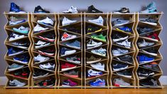Speicherideen A shoe storage system for sneaker collectors and retail environments - . Sneaker Regal, Shoe Storage Display, Storage Ideas, Shoe Storage Solutions, Display Shelves, Sneaker Storage, Sneaker Rack, Shoe Store Design, Carton Diy