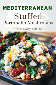 Mediterranean stuffed portabello mushrooms are a simple side dish or meatless main dish.  Plump portabello mushrooms are stuffed with sun-dried tomatoes, baby spinach, pine nuts, Kalamata olives, gluten-free breadcrumbs, feta cheese, and spices.  Easy and delicious! #stuffedmushrooms #stuffedportobello #vegetarianrecipe #mushrooms via @Ameecooks Healthy Side Dishes, Side Dishes Easy, Side Dish Recipes, Main Dishes, Dinner Recipes, Healthy Meals, Appetizer Recipes, Dinner Ideas, Spicy Recipes