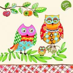 Family Owl Decoupage Napkin