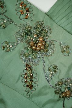 1940's Gothe dress. Cornely machine embroidery with some added pearls. sequins, rhine stones and chenille thread.