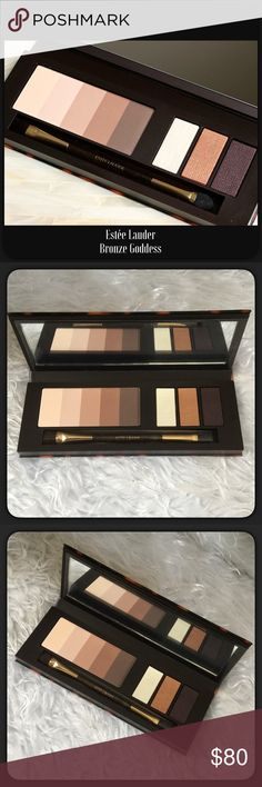 """🆕HP🎀Ltd Edition Bronze Goddess by Estée Lauder New in box limited edition Estée Lauder Bronze Goddess eyeshadow palette. From beautiful matte nudes to 3 shimmer colors ftom light to deep plum. Never used. The box a sweet toddler added some stickers to it that I took off (the box is seen in last photo), the palette itself is perfect.  Measures approximately 2.5"""" x 7"""". Estee Lauder Makeup Eyeshadow"""