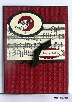 Musical notes Christmas card- Punched circle bird, use wing from Bird Punch, googly eye, scallop oval and oval punches & a black ribbon accent, lace scallop edge punch, embossed cs.