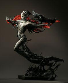 "Forest Rogers | Morrigan, Celtic battle goddess, shape-shifting phantom  queen | mixed-media, about 19"" tall"