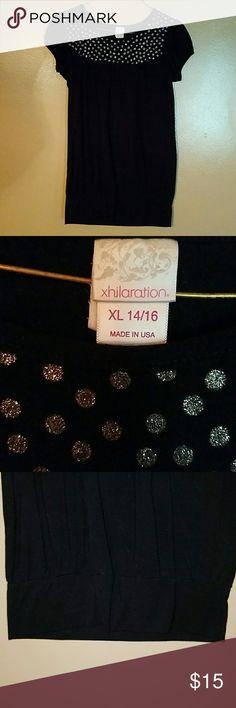 Girls Top Black Short Sleeve Silver Glitter Poker Dots at Top Xhilaration Tops