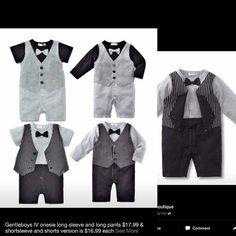 Gentleboys IV collection $17.99 each in short or long sleeve. #onesiefashion #elegant #boysfashion  #bowtiefashion #tuxedo #wedding