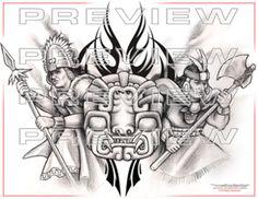 Grey Ink Tattoos, Body Art Tattoos, Ear Tattoos, Crow Tattoos, Phoenix Tattoos, Aztec Tattoo Designs, Tattoo Patterns, Aztec Designs, Henna Patterns