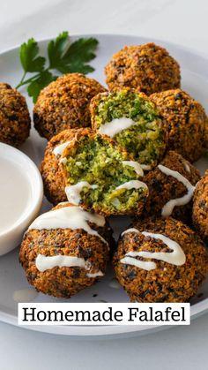 Vegan Dinner Recipes, Vegan Dinners, Veggie Recipes, Appetizer Recipes, Vegetarian Recipes, Cooking Recipes, Healthy Recipes, Appetizers, Vegan Falafel Recipe