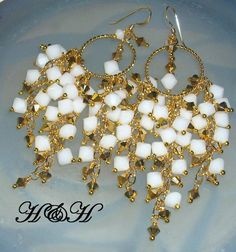 White and Gold Bold Chandelier Earrings by hhjewelrydesigns, $62.00