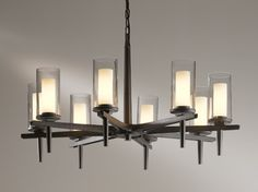 Buy the Hubbardton Forge Dark Smoke Direct. Shop for the Hubbardton Forge Dark Smoke Constellation 8 Light Wide Pillar Candle Chandelier with Customizable Glass Shade and save. Rectangular Chandelier, Dining Chandelier, Dining Room Light Fixtures, Chandelier Shades, Dining Room Lighting, Chandelier Lighting, Chandeliers, Rustic Lighting, Kitchen Lighting