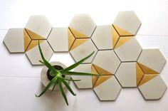 Concrete Hexagon Tiles. Cement Tile. Set of 10. Concrete Coasters. Cement…
