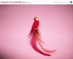 FINAL SALE Red Parrot Long Brooch with Feathers M164 by MICSJWL, $3.00