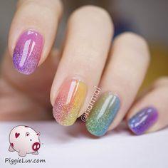Double gradient glitter rainbow nail art #piggieluv #nailart - Go to bellashoot.com or #beautyapp for beauty inspiration!