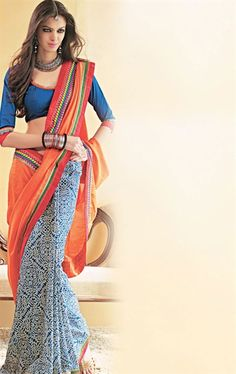 Awesoe Orange and Blue Color Saree with Blouse HSPGRA324 - www.indianwardrobe.com