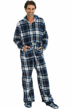 Amazon.com: Del Rossa Men's Fleece Hooded Footed One Piece Onsie Pajamas: Clothing
