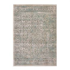ECarpet Gallery 207056 Stella Cream and Turquoise Polyester Rug