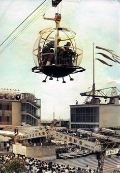 1963年 かつて日本橋三越本店の屋上にあった,宇宙船型のロープウェイ Japanese Photography, Vintage Photography, Showa Period, Retro Pictures, Urban Landscape, Amusement Park, Vintage Photos, Tokyo, Scenery