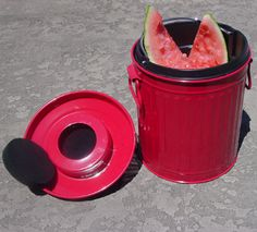Red Metal Compost Pail Bucket Liner Insert