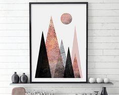 Scandi Mountains, Mountain Print, Scandinavian Modern, Scandinavian Print, Scandinavian Poster, Printable Nordic, Blush, Rose Gold,…