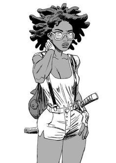 "elephantfist: ""Late-night wind-down drawing. "" elephantfist: ""Late-night wind-down drawing. Black Girl Art, Black Women Art, Black Art, Black Anime Characters, Female Characters, Art Noir, African American Art, African American Hairstyles, Afro Art"