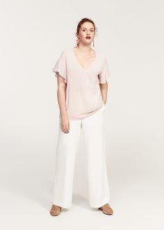 Ruffled sleeve blouse - Shirts Plus sizes | Violeta by MANGO Bahrain
