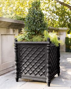 "Basketweave planter. Handcrafted of lightweight and durable materials. Hand-applied lacquer finish. 20.5""Sq. x 24.25""T. Imported. Boxed weight, approximately 52 lbs. Why we choose manmade materials. T"