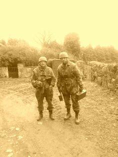 Fallschirmjäger Normandy, France. Carrying MG ammo....