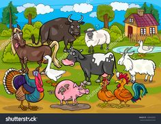 Cartoon Illustration of Country Scene with Farm Animals Livestock Big Group