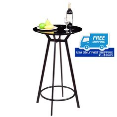 Modern Glass Top Metal Frame Round Bar Table.