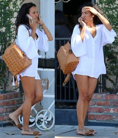 Karrueche Tran in Flirty Summer Getup with MCM Backpack - Site Title Chill Outfits, Summer Outfits, Casual Outfits, Cute Outfits, Fashion Outfits, Womens Fashion, Mcm Backpack, Backpack Outfit, Classy Casual