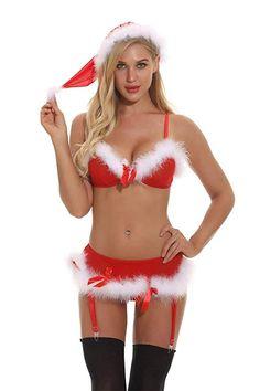 b6eac9abe7 Nicetage Womens Christmas Lingerie Red Santa Babydolls Chemises Set S)