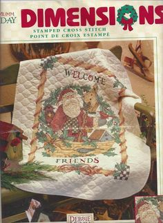 Debbie Mumm Christmas Santa's Welcome Quilt Stamped Cross Stitch Kit Started #DimensionsDebbieMumm