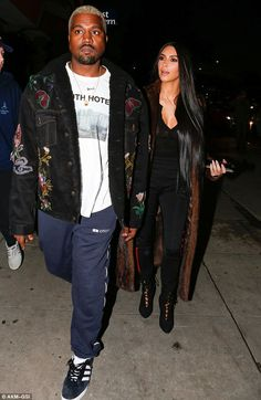Date night: Kim Kardashian and Kanye West stepped out for a romantic dinner in Los Angeles on Saturday