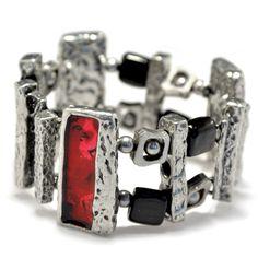 Modern art bracelet, red pewter bracelet, wearable art jewelry, hand painted bracelet, resin jewelry, modern bracelet, wearable art bracelet by BijouChantaleGelinas on Etsy