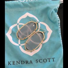 Kendra Scott translucent light gray Elle Great used condition - purchased last year and worn 3 times. Comes with dust bag. See quarter for scale. Kendra Scott Jewelry Earrings