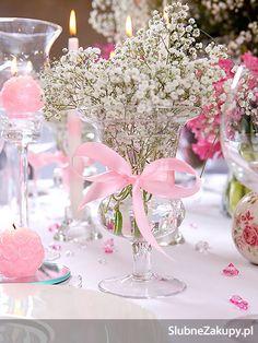 Ślub i wesele - pomysły i inspiracje na dekoracje i atrakcje: Dekoracje stołów weselnych - Różowe Marzenie Pełne Słodyczy