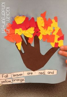 Fun Fall Freeibe working on building sentences and parts of a tree.