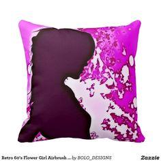 Retro 60's Flower Girl Airbrush Art Throw Pillow