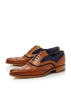 Barker McClean Lace Up Wingtip Brogues Tan - House of Fraser