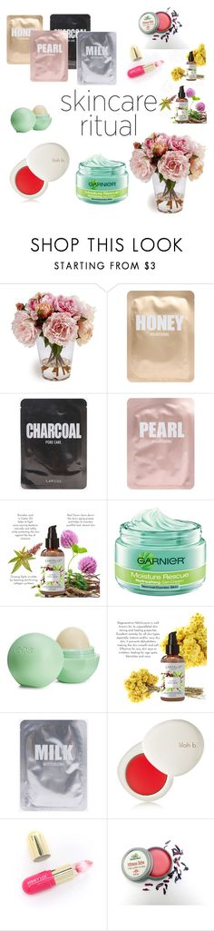 """Mornings~ Contest Skincare Ritual"" by clairehazel ❤ liked on Polyvore featuring beauty, Lapcos, Garnier, Eos, lilah b. and Winky Lux"