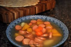 Hot dog soup, Finnish comfort food, Makkarakeitto/Korvsoppa