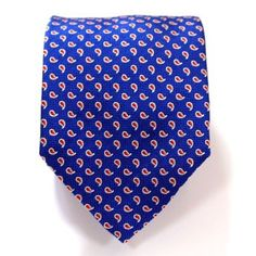 Electric blue paisley pattern tie