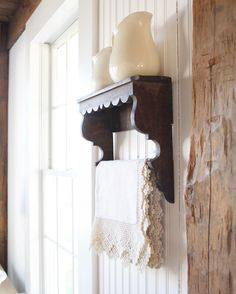 Could make the shelf with two corbels, dowel and wood trim from hardware store, add scrap lumber - See this Instagram photo by @farmhouse5540 • 83 likes